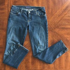 Bebe skinny zip ankle low rise jeans 29
